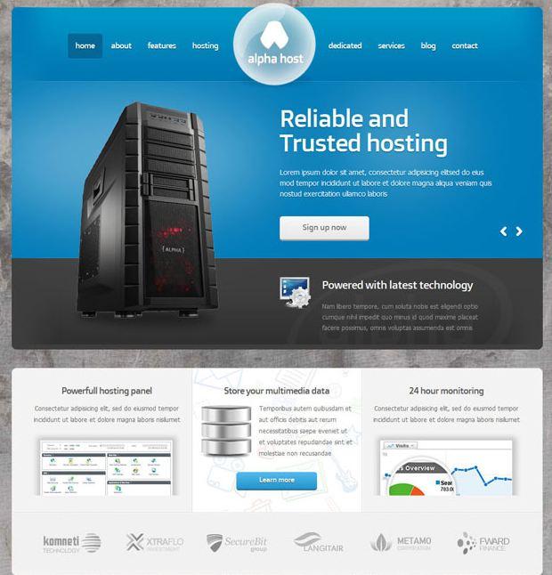 Alphahost - giao diện website bán hosting domain cho người mới
