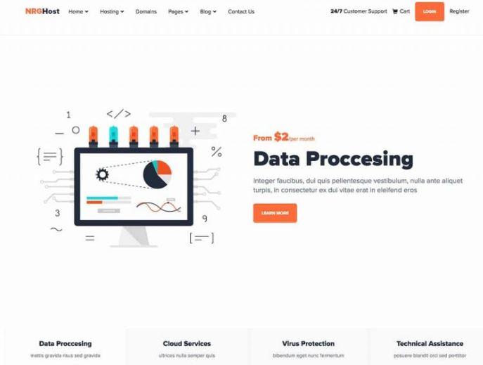 NRGhost - giao diện website bán hosting - domain hoàn hảo