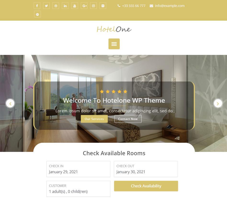 Hotel theme wordpress hotelone