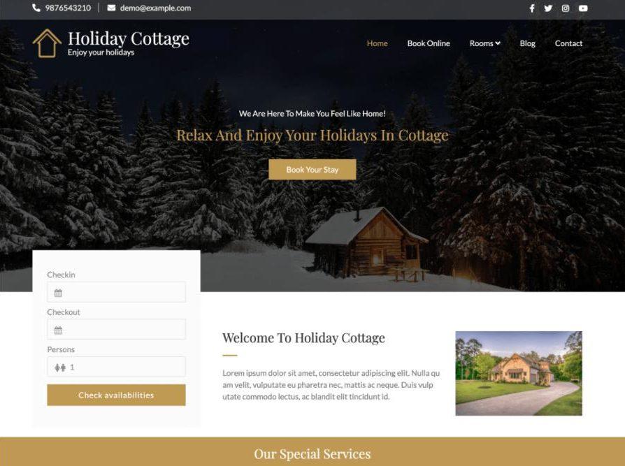 Theme wordpress hotel Holiday Cottage
